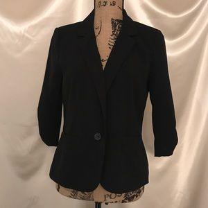 Frenchi Blazer Black  Button Size Large 3/4 sleeve